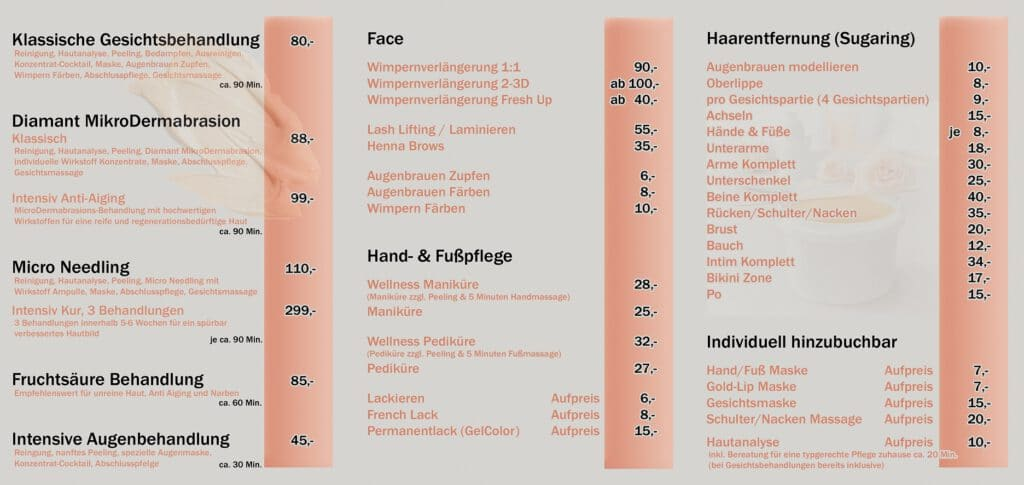 DA Kosmetik Preisliste, Kosmetikstudio Graben